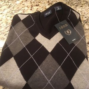Izod Black Argyle Sweater